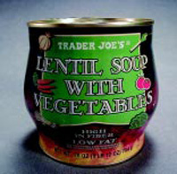 Fig. 1—Contoured can for Trader Joe's low-acid particulate soup, a three-piece steel can with a full-panel easy-open end.