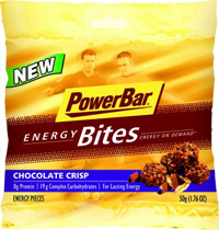 Fig. 1—PowerBar Energy Bites combine complex carbohydrates, protein, and 17 vitamins and minerals in three flavors: Chocolate Crisp, Peanut Butter Crisp, and Oatmeal Raisin Crisp.