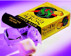 Fig. 4—SoBe Gum utilizes guarana, ginseng, and taurine to boost energy levels.