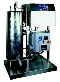 Self-contained ozonation system, the 10CS-05, supplies ozonated water (aqueous ozone) at 30–100 gal/min.