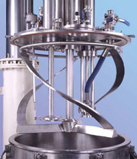 The Vertical Helical Agitator promotes excellent top-to-bottom and radial circulation throughout the batch in a Ross Multi-Agitator Mixer.