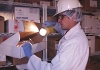 Auditor monitors the temperature of frozen finished product as a means of assuring food safety.