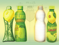 Steps in design of bottle for ReaLemon 100% Lemon Juice progressed from a rough sketch at left to a refined sketch, an industrial drawing, a 3-D model, to a final package.