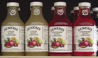 "Juices pasteurized by PEF are being marketed by Genesis Juice Cooperative in the Portland, Ore., area. Labels state that the product is ""Processed by Pulsed Electric Field."""