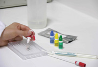 The Alert® test kit is a screening test that compare up to five samples at a time against a known level of allergen.