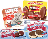 Products like these ice cream novelties, which have been reformulated or repackaged to contain a lower amount of calories, display the caloric content prominently on the front of the packages.