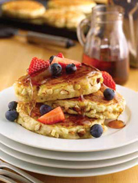 "SunRich Foods created the mix for Multigrain 'N Nut Pancakes, which incorporates both blanched and toasted almonds, adding fiber to create a healthier variation of this breakfast favorite. Almonds are said to lower LDL cholesterol, the so-called ""bad"" cholesterol."