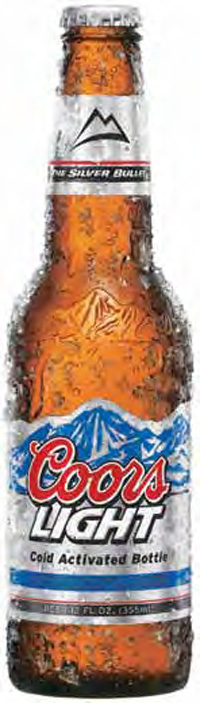 The Coors Light cold-activated label is a good example of packaging that features a target temperature indicator. Thermal ink on the label changes from white to blue when the beer has been appropriately chilled.