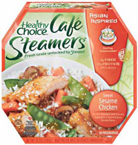 The packaging system for ConAgra's Healthy Choice Café Steamers optimizes product quality and microwave heating consistency.