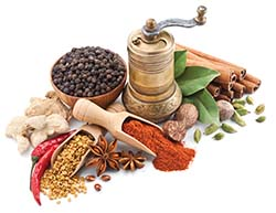 Spices add flavor and color to foods.