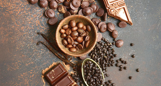 Chocolate chips, bar and spices