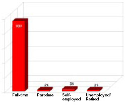 Most respondents are employed full-time