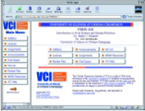 Fig 1-VCI is a dual-frame graphical interface displaying site navigational buttons (at left) for each of the nine content modules