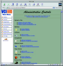 Fig-2 The VCI Administrative Controls contains hyperlinks to HTML forms that instructors use to edit the content of each module