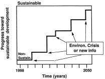 Fig. 5—The likely erratic course to attainment of industrial sustainability