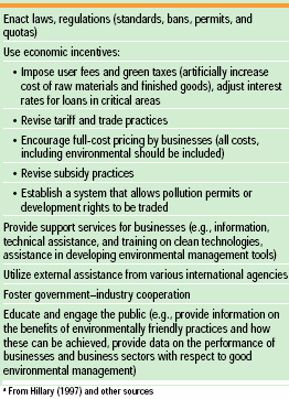 Table 4 Tools that national governments may employ to encourage industrial practices that are environmentally friendly and sustainablea
