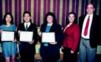 Shown from left are Zhang, Li, Phillips, Betsy Booren (Division student representative), and Fred Bender (Rhodia Foods representative)