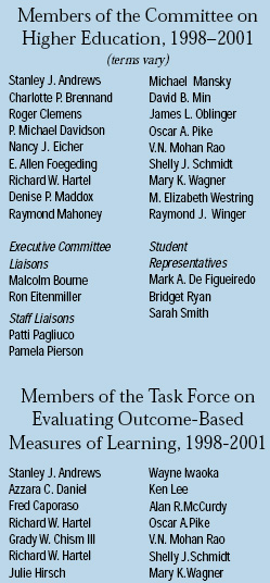 Members of the Committee on Higher Education, 1998–2001 (terms vary)