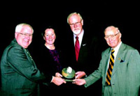 From left, Kenneth Quinn, President of the World Food Prize Foundation; Rebecca Goldburg, Senior Scientist, Environmental Defense; Per Pinstrup-Andersen, World Food Prize Laureate; and Norman Borlaug, Nobel Peace Prize Laureate