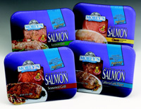 Fig.4—Morey's Seafood is making it easy for consumers to cook salmon and other fish more easily by marinating and adding a pop-up timer and a disposable tray suitable for broiling, baking, or microwaving.