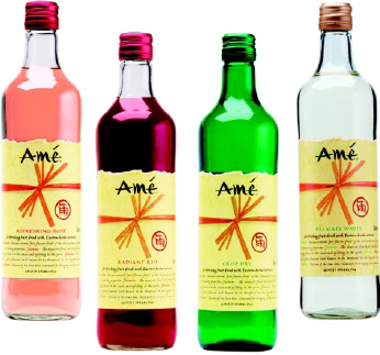 Fig.7—Amé exemplifies the trend to sophisticated sparkling beverages, with its premium blend of natural fruit, herbal extracts, and sparkling spring water.