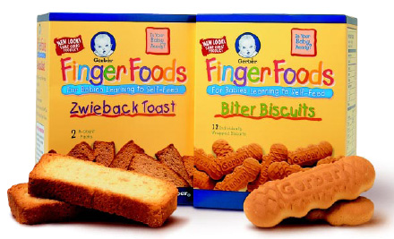 Fig. 3—Snacking items such as Gerber Finger Foods offer good nutrition and variety and help older infants and toddlers learn to self-feed and chew.