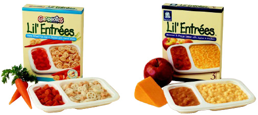 Fig. 3—Snacking items such as Gerber Finger Foods offer good nutrition and variety and help older infants and toddlers learn to self-feed and chew