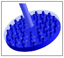 Fig. 7—Vibromixer disk with 60 conical perforations.