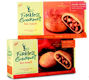 Fig. 15—Forkless Gourmet's new all-natural bun meals provide a healthy ethnic twist to America's mostpopular hand-held foods.