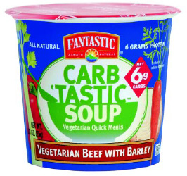 Fig. 5—With brown-bagging rising again—in the name of health—Fantastic Foods' new low-carb soups are right on target.