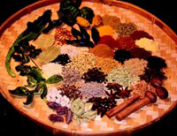 A variety of fresh and dried spices from around the world provide flavor, color, and texture to ethnic dishes.