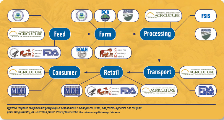 Effective response to a food emergency requires collaboration among local, state, and federal agencies and the food processing industry, as illustrated for the state of Minnesota.