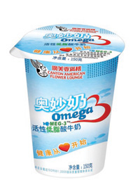 OMU drinkable yogurt recently launched in China by Canton American Flower Lounge Livestock Co. is enriched with MEG-3 brand omega-3 EPA/DHA from fish oil.