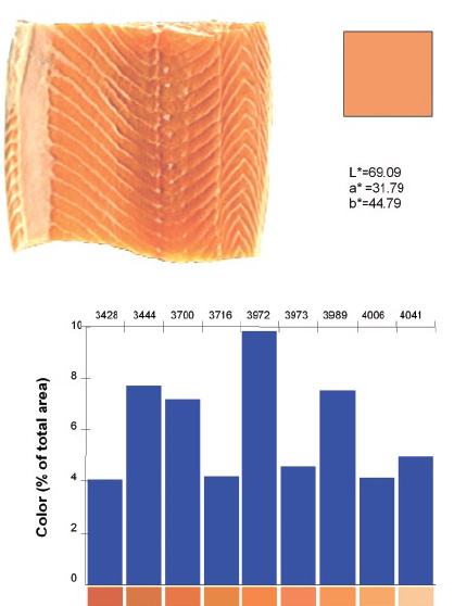 Figure 2. Determination of the color spectrum of salmon.