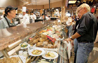 Wegmans Food Markets look and feel like a European open market with a Chef's Case with chef-prepared entrees, side dishes, and salads, wood-fired brick oven for breads, and an authentic French pastry shop.