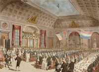 The City of London Tavern was essentially a substantial suite of function rooms at which many public meetings and dinners were held, as illustrated by this 1814 interior view of the tavern where the emancipation of Holland from France was being celebrated. Nicholas Appert, the inventor of canning—using glass bottles, not cans—traveled to London in 1814 and seemed to have achieved a remarkable intimacy with the tavern within a short time. Illustration: City of London Tavern interior, by Thomas Rowlandson and J. Shepherd, aquatint (1814),