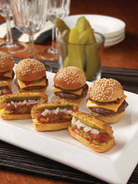 Bite-sized portions of favorite foods, such as mini burgers, mini hot dogs, and mini pot pies, are being increasingly offered in restaurants.
