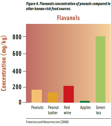 Figure 4. Flavanols concentration of peanuts compared to other known rich food sources.