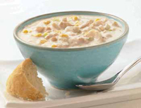 Whey proteins provide viscosity to chowders and soups.