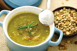 Soup can be fortified with dairy ingredients to increase protein and calcium.