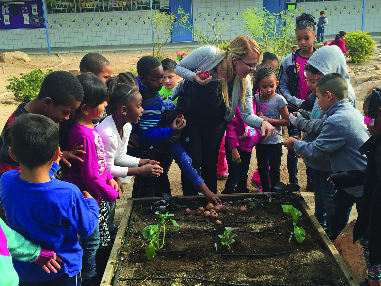 In Las Vegas, an initiative called Green Our Planet builds school gardens to help students learn about health, nutrition, and sustainable food production. Photo courtesy of Green Our Planet