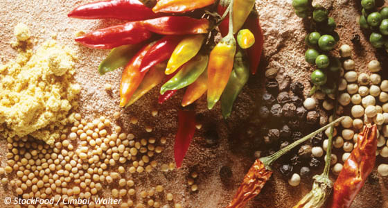 Chili peppers and spices flavor food and lend certain sensations like heat and tingling.