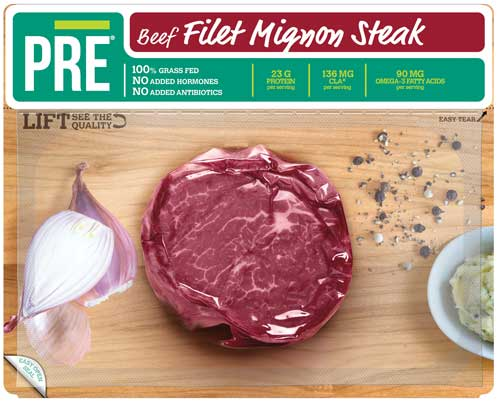 Vacuum-sealed PRE beef product