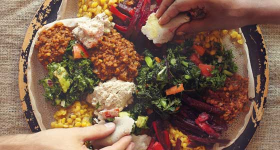 Sharing a plate Ethiopian food.