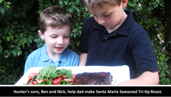 Hunter's sons, Ben and Nick, help dad make Santa Maria Seasoned Tri-tip Roast with a salad.